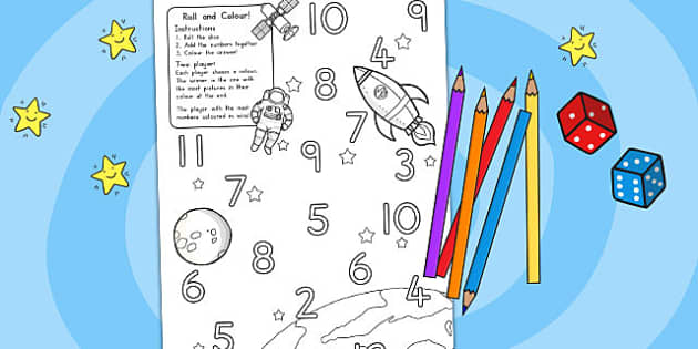 Space Roll and Colour Dice Addition Activity - australia, space