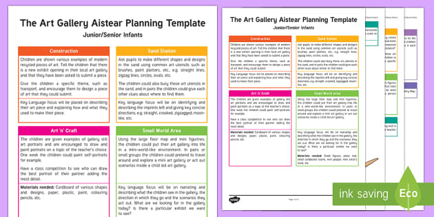 ROI Art Gallery Aistear Planning Template - Aistear, Infants, English Oral Language, School, The Garda Station, The Hairdressers, The Airport, T