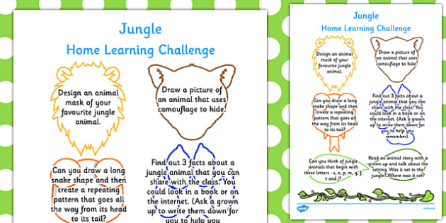 EYFS Jungle Themed Home Learning Challenge Sheet Reception FS2