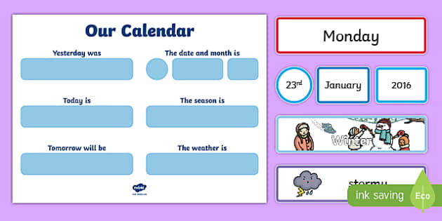 Day, Date, Month, Weather and Season Calendar - day, date, month, weather, season, calendar