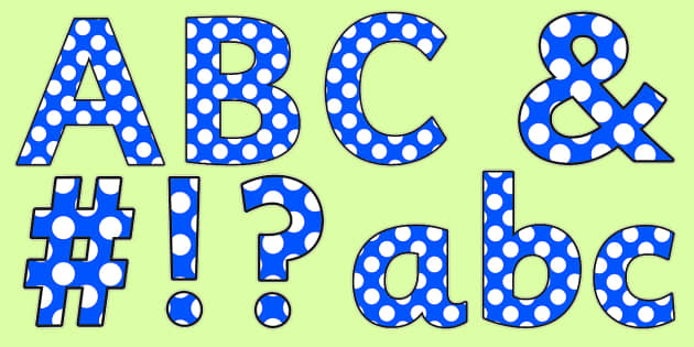 Polka Dot Display Lettering (Lowercase) - A-Z, A4, display, polka, lowercase, Alphabet frieze, Display letters, Letter posters, A-Z letters, Alphabet flashcards