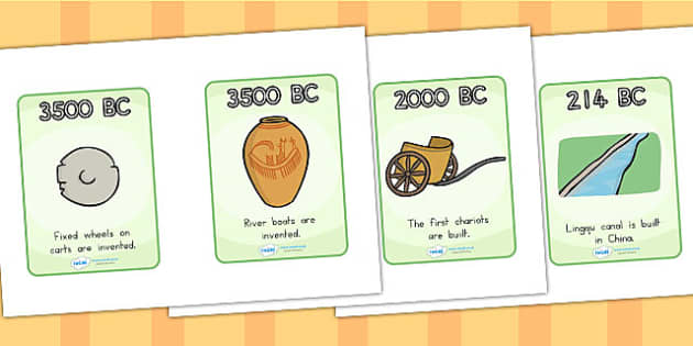 History of Transport Timeline Cards - transport, history, time