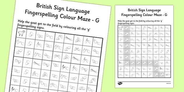 British Sign Language Left Handed Fingerspelling Colour Maze G