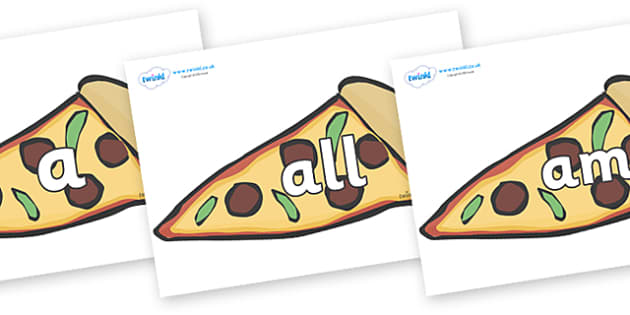 Foundation Stage 2 Keywords on Pizza Slices - FS2, CLL, keywords, Communication language and literacy,  Display, Key words, high frequency words, foundation stage literacy, DfES Letters and Sounds, Letters and Sounds, spelling