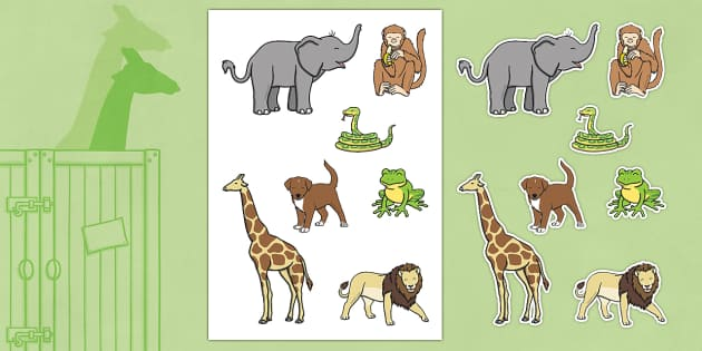 Stick Puppets to Support Teaching on Dear Zoo - Dear Zoo, Rod Campbell story, zoo, zoo animals, adjectives, descriptive words, lion, monkey, puppy, giraffe, story book, story book resources, story sequencing, story resources, zoo, animals, stick pupp