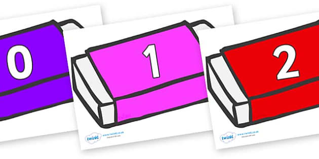 Numbers 0-100 on Erasers - 0-100, foundation stage numeracy, Number recognition, Number flashcards, counting, number frieze, Display numbers, number posters
