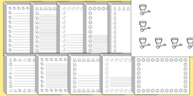 Editable Seaside Black and White Page Borders Pack - seaside