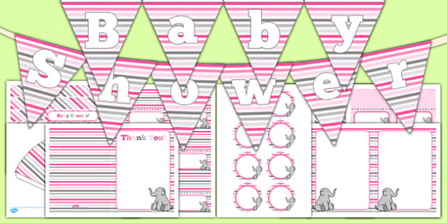 Baby Shower Decorations Pink Themed Pack - baby shower, baby, shower, newborn, pregnancy, new parents, decorations, pack