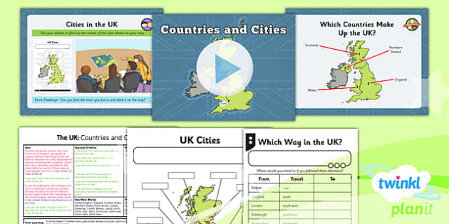 PlanIt - Geography Year 3 - The UK Lesson 1: Countries and Cities Lesson Pack - geography, UK, county, counties, rivers, mountains, London