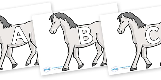 A-Z Alphabet on Horses - A-Z, A4, display, Alphabet frieze, Display letters, Letter posters, A-Z letters, Alphabet flashcards
