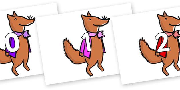 Numbers 0-31 on Small Fox 1 to Support Teaching on Fantastic Mr Fox - 0-31, foundation stage numeracy, Number recognition, Number flashcards, counting, number frieze, Display numbers, number posters