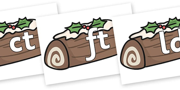 Final Letter Blends on Christmas Logs - Final Letters, final letter, letter blend, letter blends, consonant, consonants, digraph, trigraph, literacy, alphabet, letters, foundation stage literacy