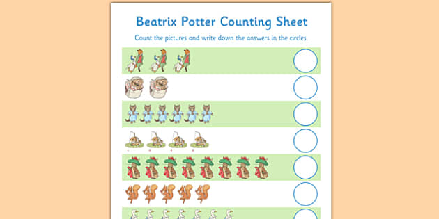 Beatrix Potter Counting Sheet - beatrix potter, author, counting, sheet, count