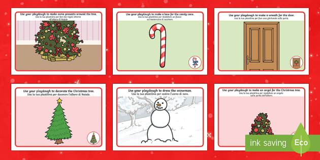 Christmas Playdough Mats Italian Translation English/Italian - Christmas Playdough Mats - Christmas, xmas, playdough, mat, tree, advent, nativity, santa, father ch