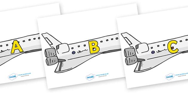 A-Z Alphabet on Space Shuttles - A-Z, A4, display, Alphabet frieze, Display letters, Letter posters, A-Z letters, Alphabet flashcards