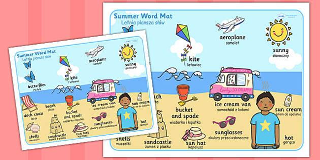 Summer Themed Scene Word Mat Polish Translation - polish, summer