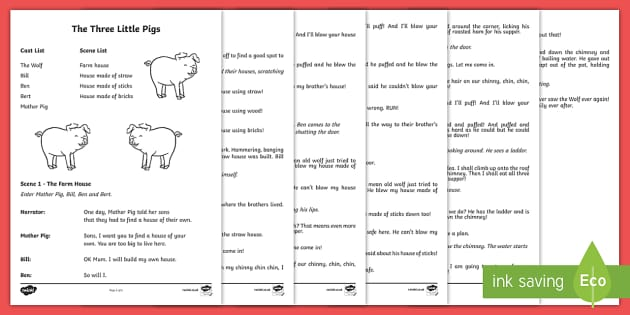 The Three Little Pigs Playscript - KS1, English, playscript, drama, year 1, year 2, traditional tales, the three little pigs, reading