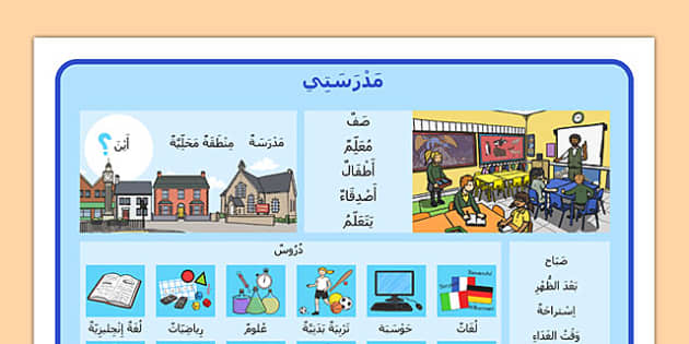 My School Word Mat Arabic Short Vowels - arabic, my school, word mat