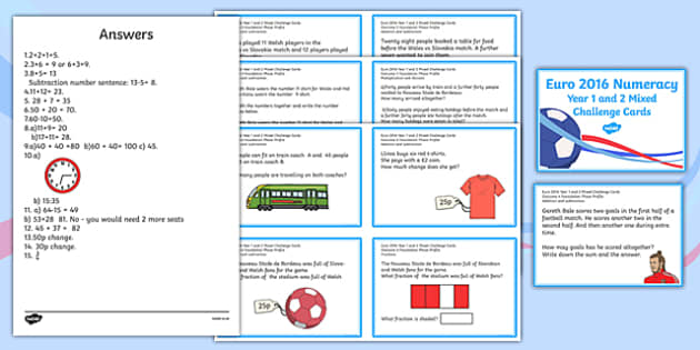 Euro 2016 Wales Numeracy Year 1 and 2 Mixed Challenge Cards Challenge Cards-Welsh
