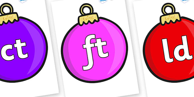 Final Letter Blends on Baubles (Plain) - Final Letters, final letter, letter blend, letter blends, consonant, consonants, digraph, trigraph, literacy, alphabet, letters, foundation stage literacy