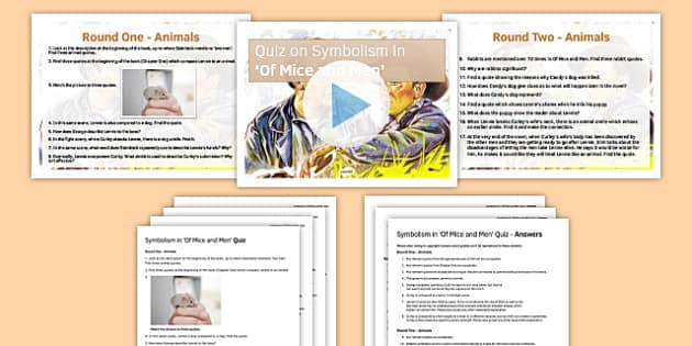 Quiz Pack Symbolism in Of Mice and Men - quiz, pack, symbolism, of mice and men