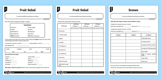 Differentiated Recipe Scaling Problems Activity Sheet Pack - problem solving, maths, scaling, twice as big, three times as big, multiplying, scaling recipes, differentiated activity, worksheet