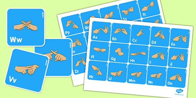 British Sign Language Manual Alphabet Flash Cards - flash cards