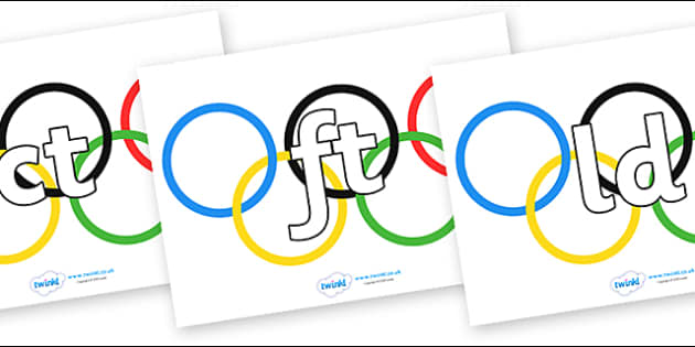 Final Letter Blends on Olympic Rings - Final Letters, final letter, letter blend, letter blends, consonant, consonants, digraph, trigraph, literacy, alphabet, letters, foundation stage literacy