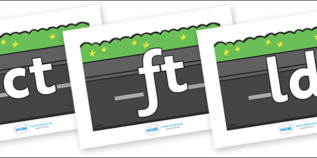Final Letter Blends on Roads (Plain) - Final Letters, final letter, letter blend, letter blends, consonant, consonants, digraph, trigraph, literacy, alphabet, letters, foundation stage literacy