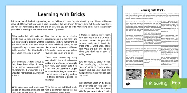Using Building Bricks to Learn at Home Parent and Carer Information Sheet - parents, primary,construction, home learning, curriculum, lego, duplo, building blocks, maths, engli