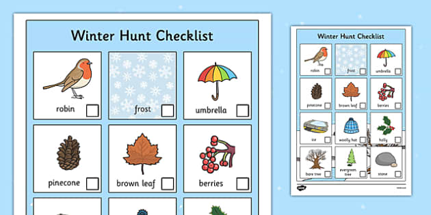 Winter Hunt Checklist - winter, hunt, winter hunt, checklist, can you see, sensory walk, winter sensory walk, winter items, winter objects, walk, on your walk, can you find