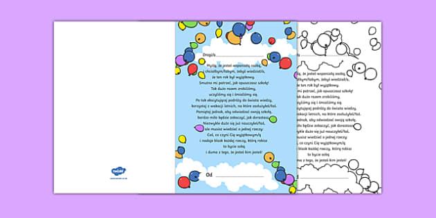 Kartka z wierszem na zakończenie szkoły po polsku