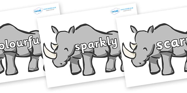 Wow Words on Rhinos - Wow words, adjectives, VCOP, describing, Wow, display, poster, wow display, tasty, scary, ugly, beautiful, colourful sharp, bouncy
