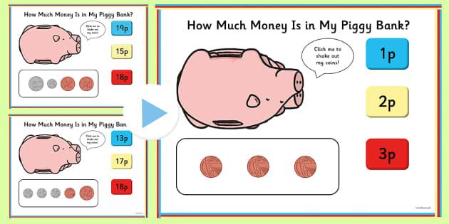 How Much Money is in My Piggy Bank PowerPoint Quiz - money, count