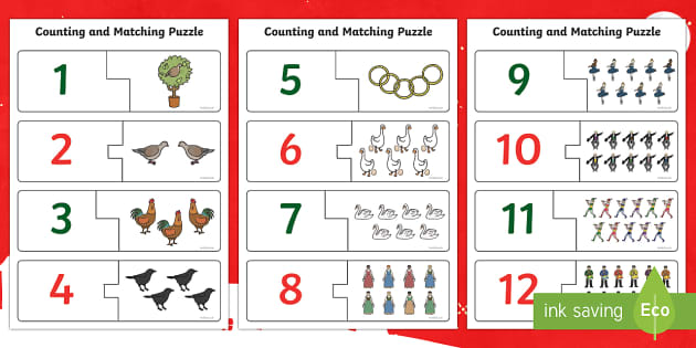 12 Days of Christmas Counting Puzzle Activity