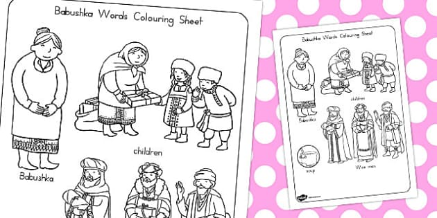 Babushka Words Colouring Sheet - australia, babushka, colouring