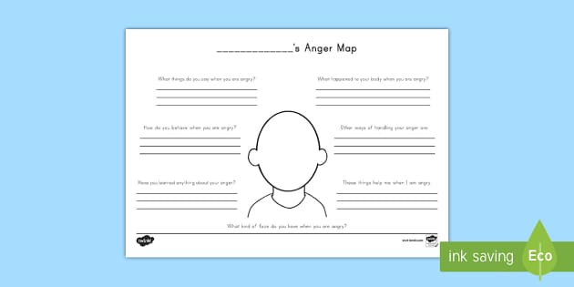 Anger Map Activity Sheet - Grieving Through Tragedy, pastoral support, anger, calming techniques, stress, calming down