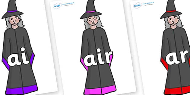 Phase 3 Phonemes on Witches - Phonemes, phoneme, Phase 3, Phase three, Foundation, Literacy, Letters and Sounds, DfES, display