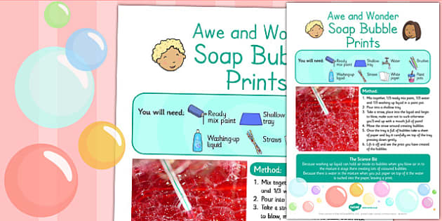 Soap Bubble Prints Awe and Wonder Science Activity - science
