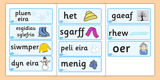 Cardiau Fflach Geirfa 'Y Gaeaf' - winter, welsh, words