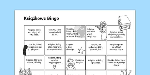 Karta Książkowe Bingo po polsku, worksheet
