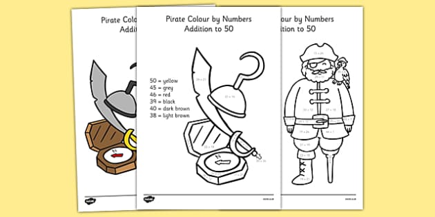 Pirate Addition to 50 Colour by Numbers - pirate, addition, 50, addition to 50, colour by numbers, colour, numbers, add