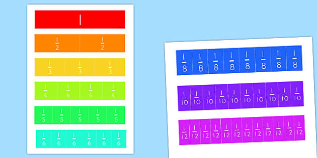 Fractions Cut Outs - australia, fractions, cut out, maths, cut