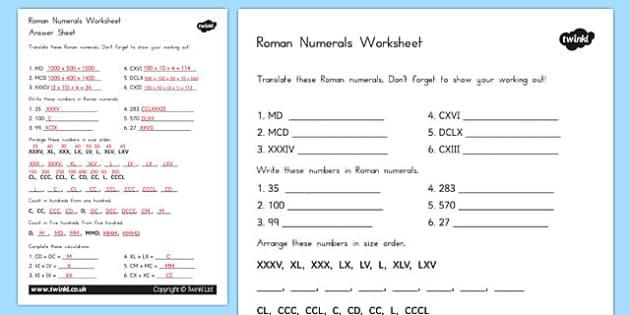 Roman Numerals Worksheet - australia, roman, numerals, worksheet