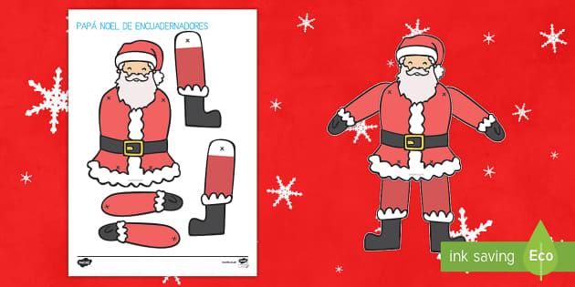 Papa Noel Actividad de encuadernadores - creativo, creatividad, santa, navidad, Papá Noel, manualidad, encuadernadores, montar