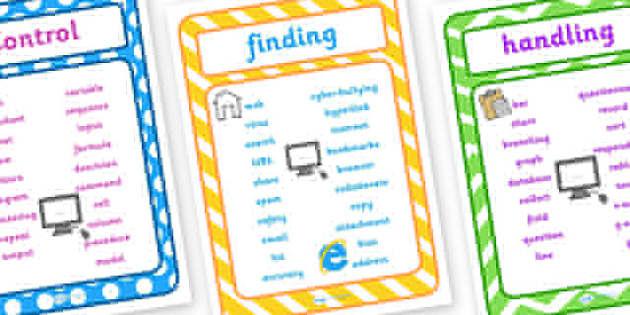 ICT Vocabulary Posters - ICT vocabulary, ICT vocab, computer vocabulary, computer vocabulary posters, ICT posters, ICT words posters, ict words