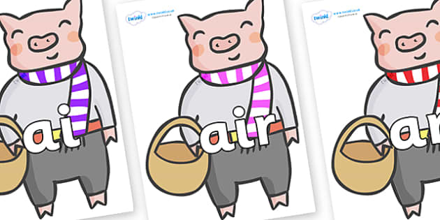 Phase 3 Phonemes on Little Piggy - Phonemes, phoneme, Phase 3, Phase three, Foundation, Literacy, Letters and Sounds, DfES, display