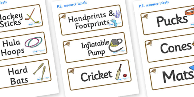 Lark Themed Editable PE Resource Labels - Themed PE label, PE equipment, PE, physical education, PE cupboard, PE, physical development, quoits, cones, bats, balls, Resource Label, Editable Labels, KS1 Labels, Foundation Labels, Foundation Stage Label