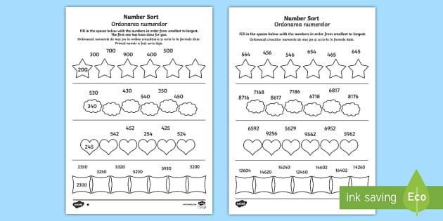 Place Value Number Sorting Activity Sheet English/Romanian