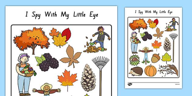 Autumn Themed I Spy With My Little Eye Activity - nz, new zealand, season, weather